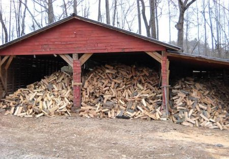 Quality Topsoil Provider Serving Johns Creek GA - Chipper LLC Tree Service - Firewood_in_barn_firewood